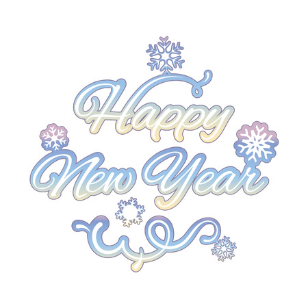 happy new year text: Happy new year isolated text, vector illustration Illustration