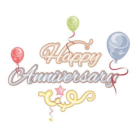 aniversario: Feliz aniversario, texto aislado, ilustración vectorial