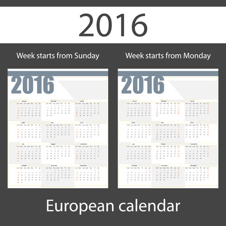week: Calendar 2016, set of two templates, week starts Monday, week starts Sunday, vector illustration