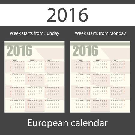 printing house: Calendar 2016, set of two templates, week starts Monday, week starts Sunday, vector illustration