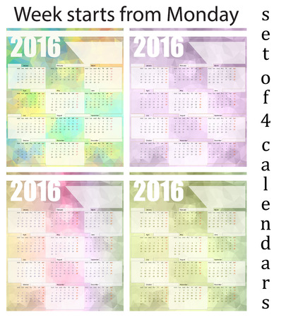 printing house: Calendar 2016, set of four templates week starts with Monday, vector illustration Illustration