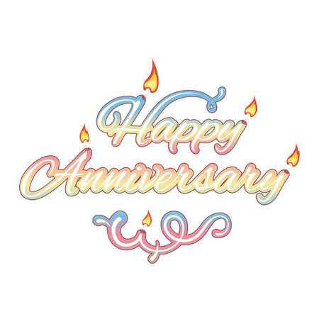 upscale: Happy anniversary, isolated text, vector illustration Illustration