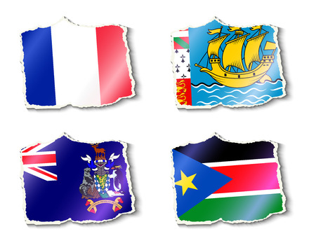 shreds: set of flags, vector illustration Illustration