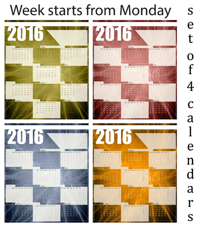 printing house: Calendar 2016, set of four templates week starts with Monday