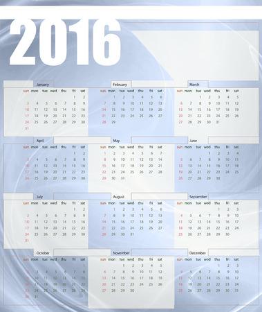 printing house: Calendar 2016, week starts on Sunday