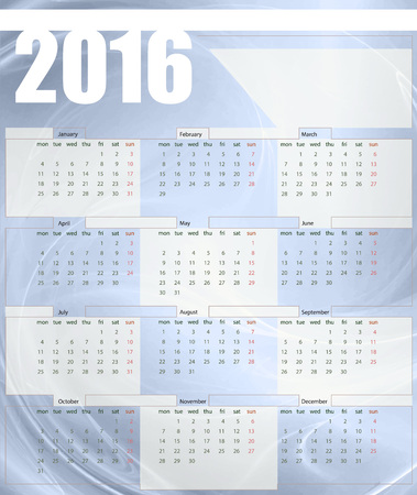 printing house: Calendar 2016, week starts on Monday, vector illustration