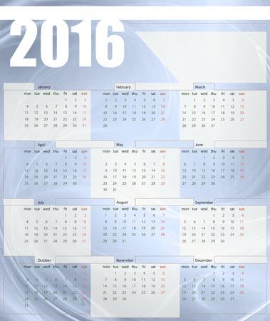 Calendar 2016, week starts on Monday, vector illustration