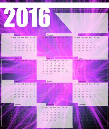 printing house: Calendar 2016, week starts on Sunday, vector illustration