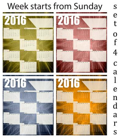 printing house: Calendar 2016, set of four templates, week begins on Sunday, vector illustration