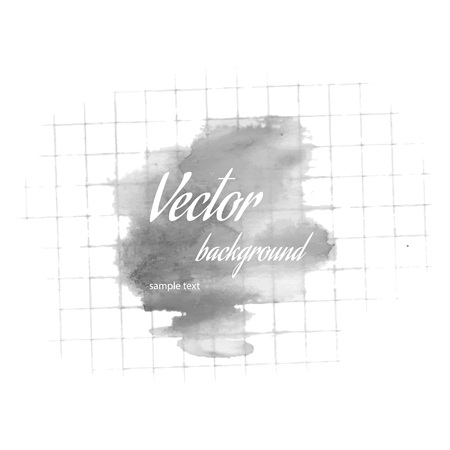 Watercolor spot on the checkered paper, vector illustration