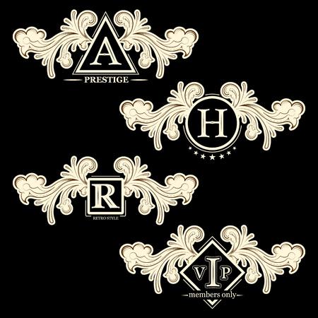 prestige: Vintage design elements, calligraphy, set of retro frames, vignettes, vector illustration
