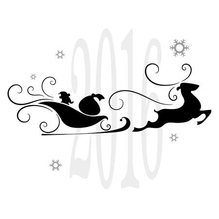 viejito pascuero: Feliz Navidad, Papá Noel en un trineo, copos de nieve, ilustración vectorial