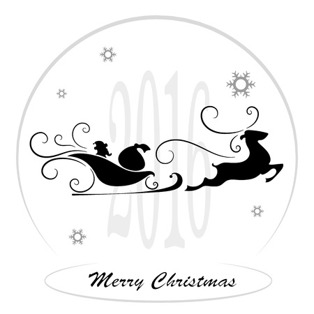 santa sleigh: Merry Christmas, Santa Claus in a sleigh, snowflakes, vector illustration