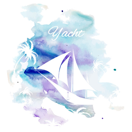 palmtrees: Palm tree and sailboat, watercolor background, vector illustration