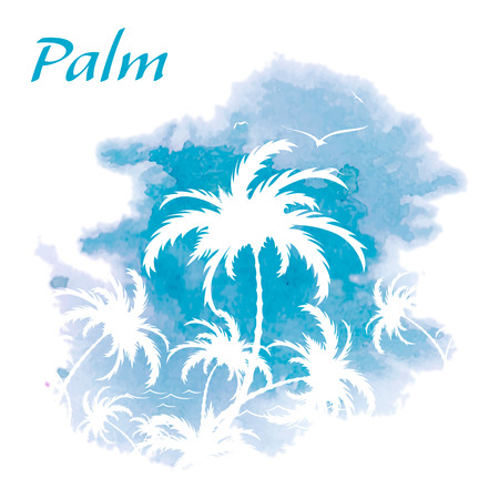 palmtrees: Palm trees, watercolor background, vector illustration