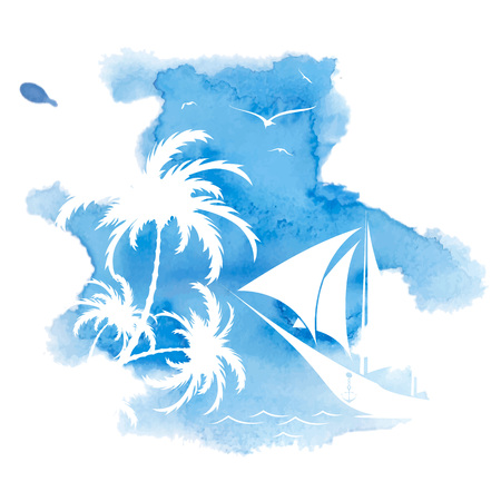 Palm tree and sailboat, watercolor background, vector illustration