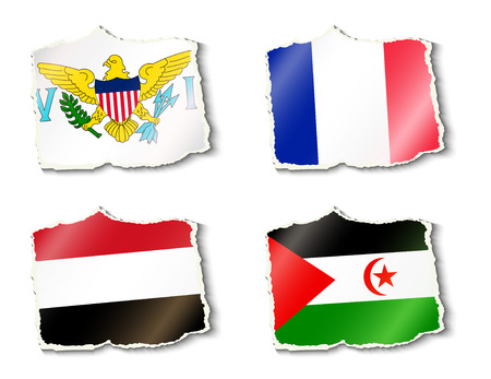 shreds: set of flags illustration Illustration