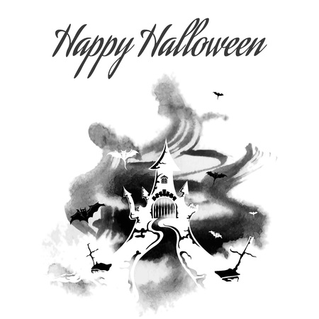 Happy Halloween, grunge, abstract, vector illustration