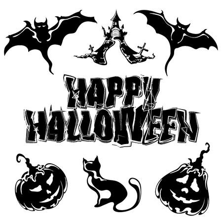 happy Halloween, set icons, vector illustration