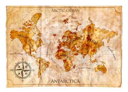 brujula: Antiguo mapa, ilustración vectorial