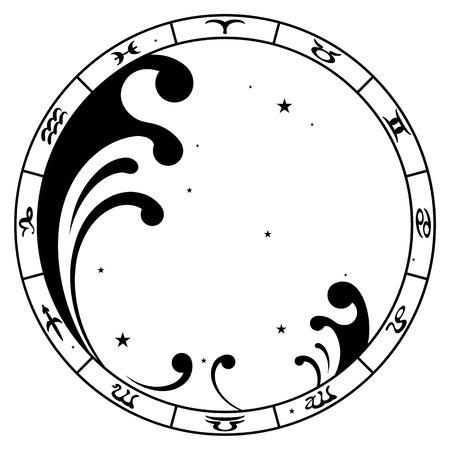 zodiac sign Aquarius, vector illustration Ilustração