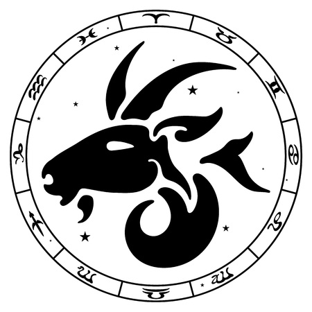 classical mythology character: zodiac sign Capricorn, vector illustration Illustration