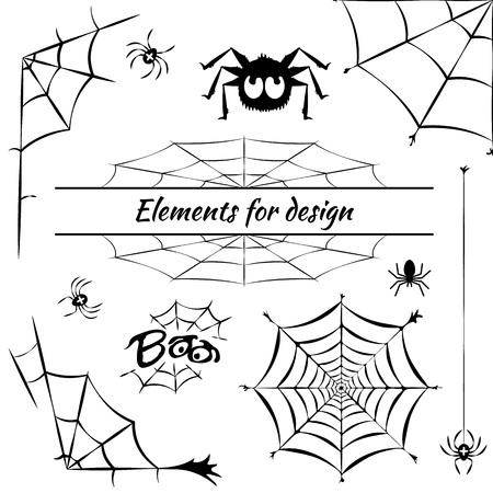 cobweb, set of elements for design, vector illustration