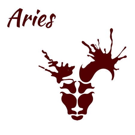 sheep sign: zodiac sign Aries, vector illustration
