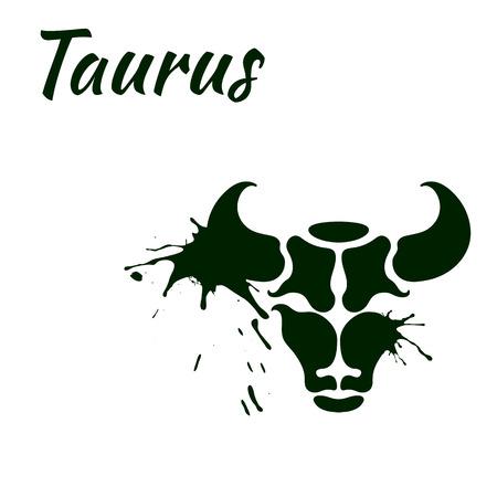 inkblot: zodiac sign Taurus vector illustration