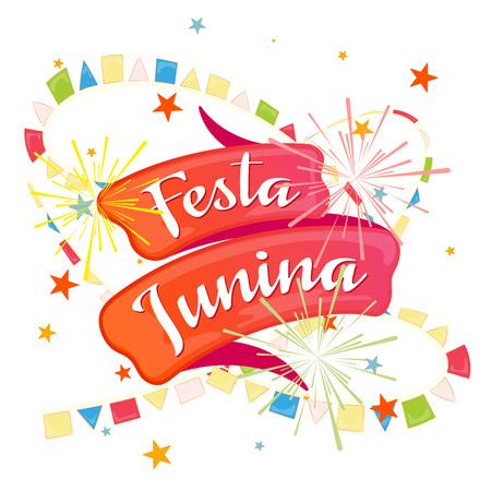 festa: festa junina, a festive red ribbon for a label for a Brazilian holiday