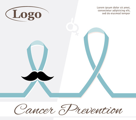 ribbon isolated: Cancer prevention, the composition with ribbons, text and place for logo Illustration