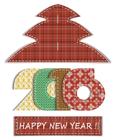white matter: Happy new year 2016, card, applique