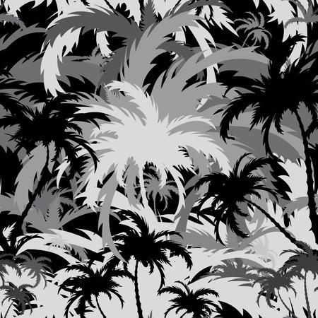 leaf shape: Palm trees, tropical landscape, seamless background Illustration