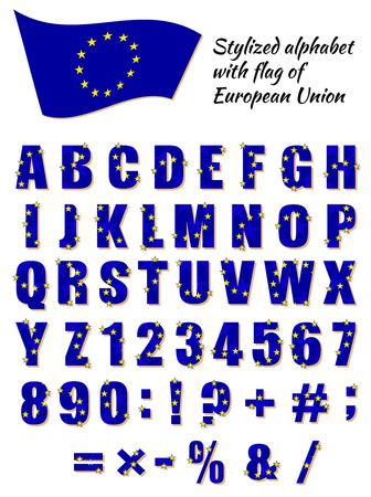 european union: Stylized alphabet with flag of European Union