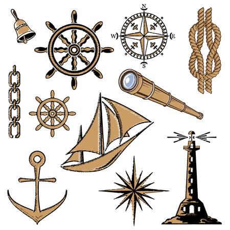 Ensemble d'icônes de la mer, illustration