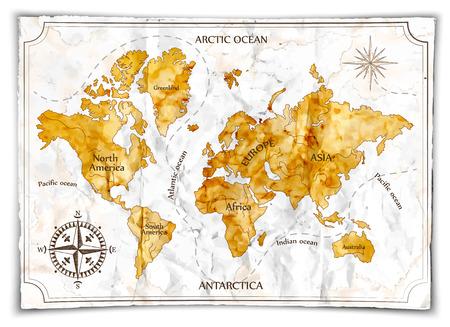 Mapa viejo, ilustración Foto de archivo - 50174424