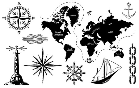 drawing compass: Old map and a set of sea icons, the contours of the map are not accurate, illustration