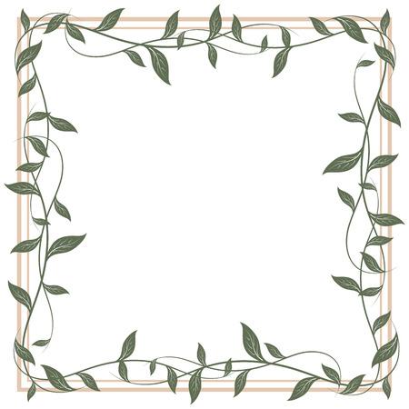 leaves frame: Decorative frame of leaves, illustration