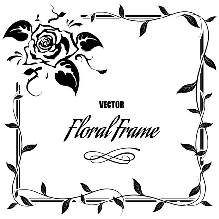 Decorative frame with roses and leaves, illustration Illustration