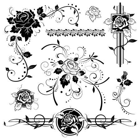 rosa negra: Rosas, elementos de diseño de época, ilustración