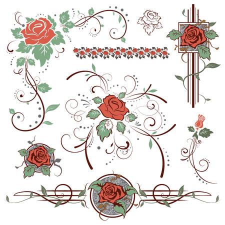 Rosas, elementos de diseño de época, ilustración