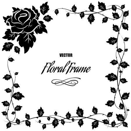 black borders: Decorative frame with roses and leaves,  illustration Illustration