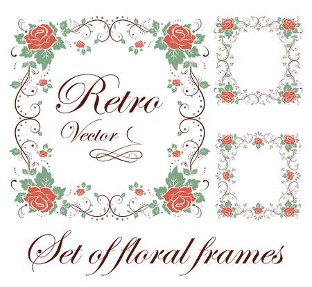 Set decorative floral frames illustration