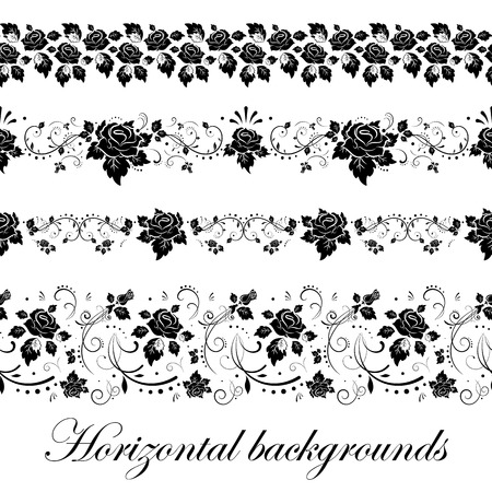 black stripes: Floral seamless border, illustration