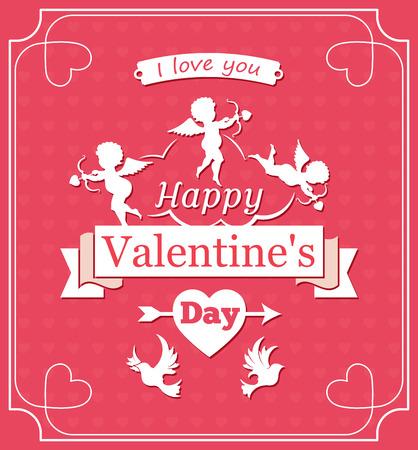 Happy Valentines day, Cupid ribbon and birds, illustration Ilustração