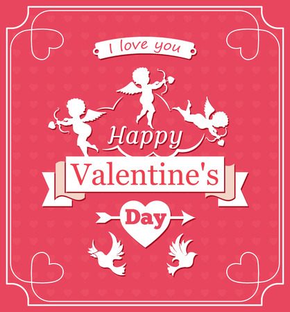 Happy Valentines day, Cupid ribbon and birds, illustration Illustration