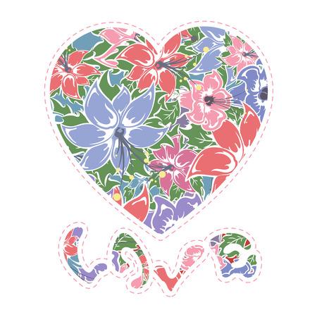 floral heart: Floral heart, illustration