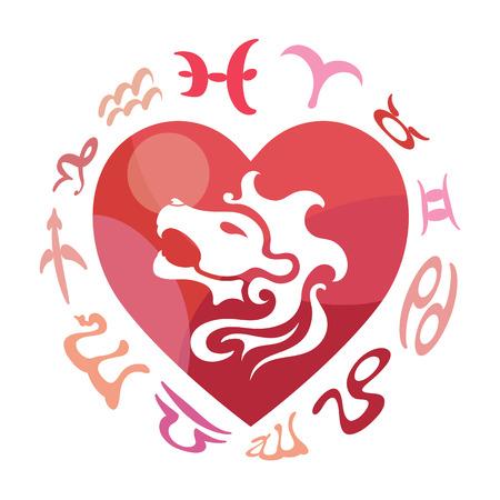 heart sign: Leo zodiac sign, vector illustration Illustration