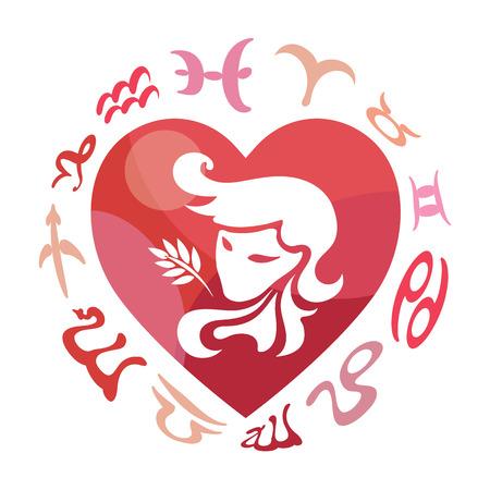 Virgo zodiac sign, vector illustration Illustration