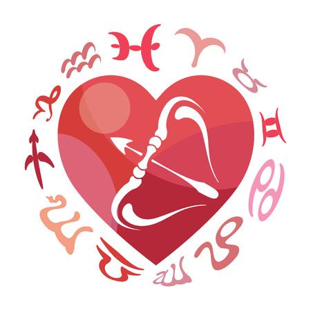 heart sign: Sagittarius zodiac sign, vector illustration
